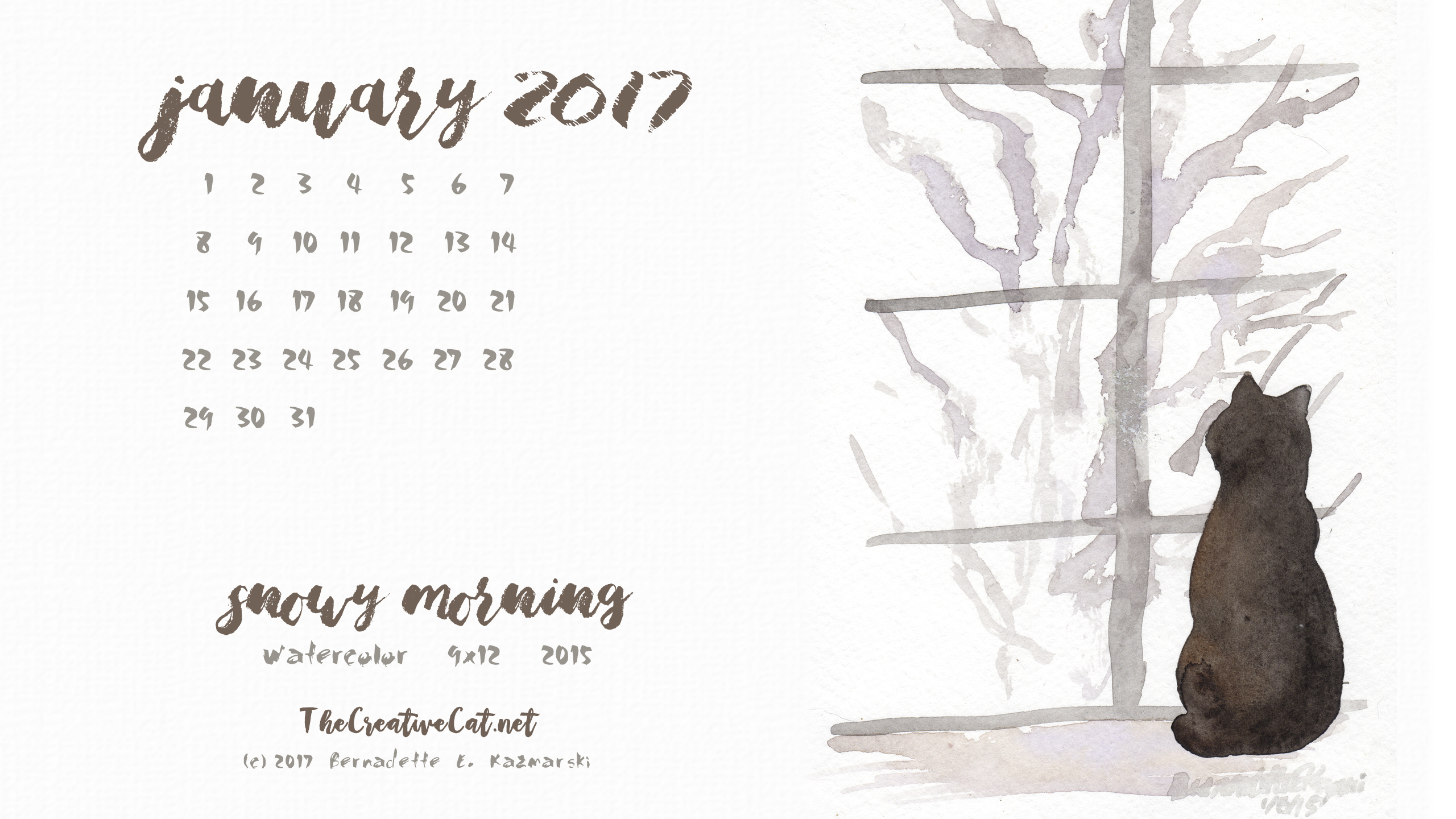 """Snowy Morning"" desktop calendar 2560 x 1440 for HD and wide screens."