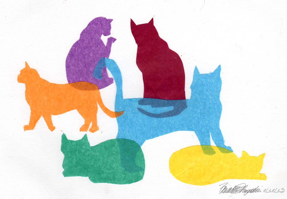 """Colorful Kitties"", cut tissue paper on white multimedia paper, 6.5"" x 8"" © Bernadette E. Kazmarski"