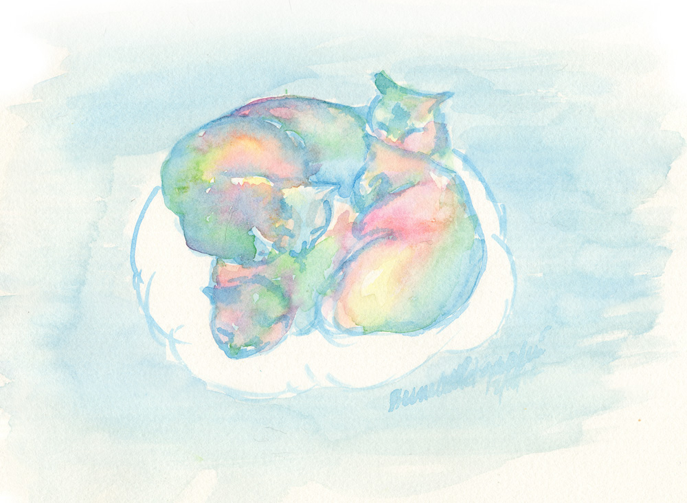 watercolor of four cats sleeping on a cloud