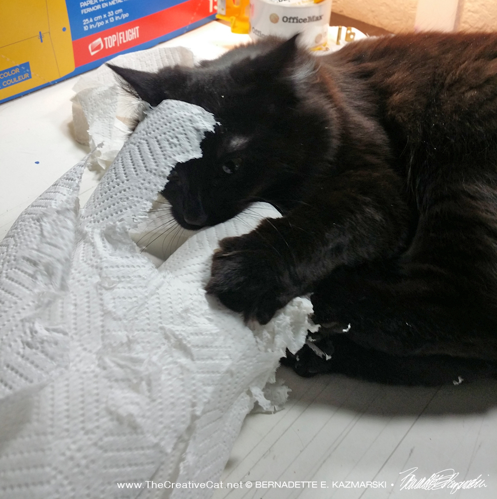 Smokie sculpts his paper towels.