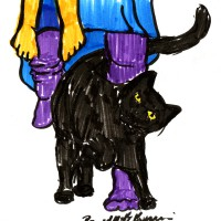 marker sketch of cat and person
