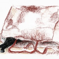 conte crayon sketch of cat in bag