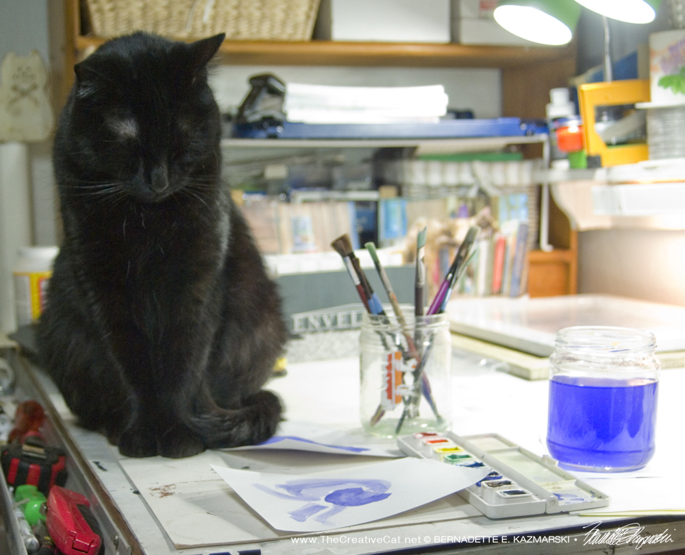 Mewsette takes a sidelong glance at my paintings of her, trying to be polite.