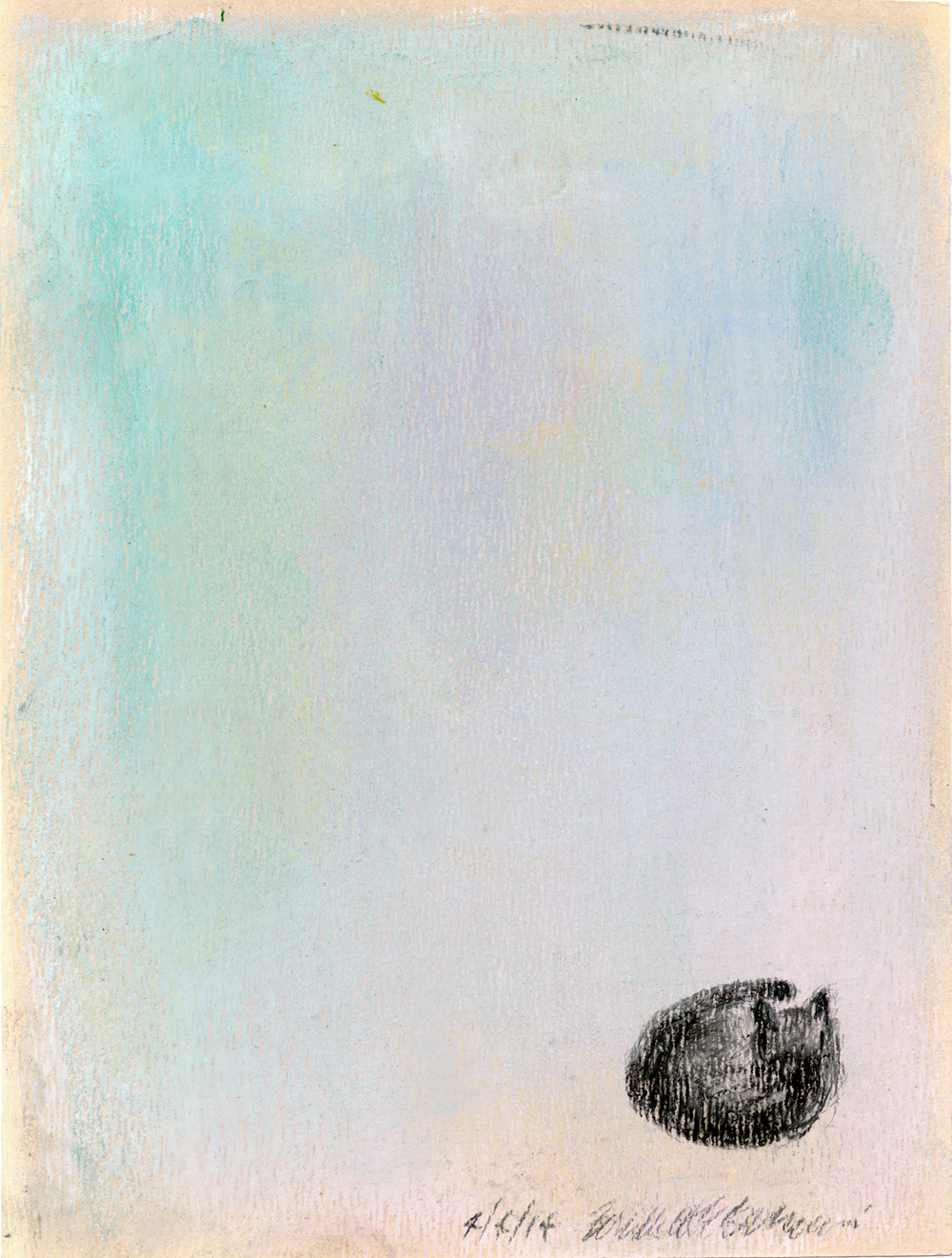 pastel sketch of samall black cat on pastel background