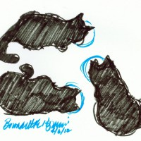 brush marker sketch of three black cats eating
