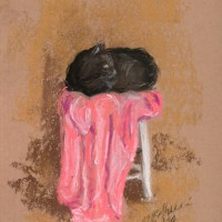 pastel sketch of black cat on pink towel