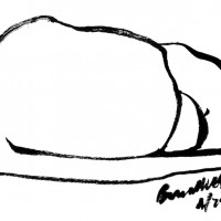 """Tucked In"", brush pen, 3.5"" x 6"" © Bernadette E. Kazmarski"
