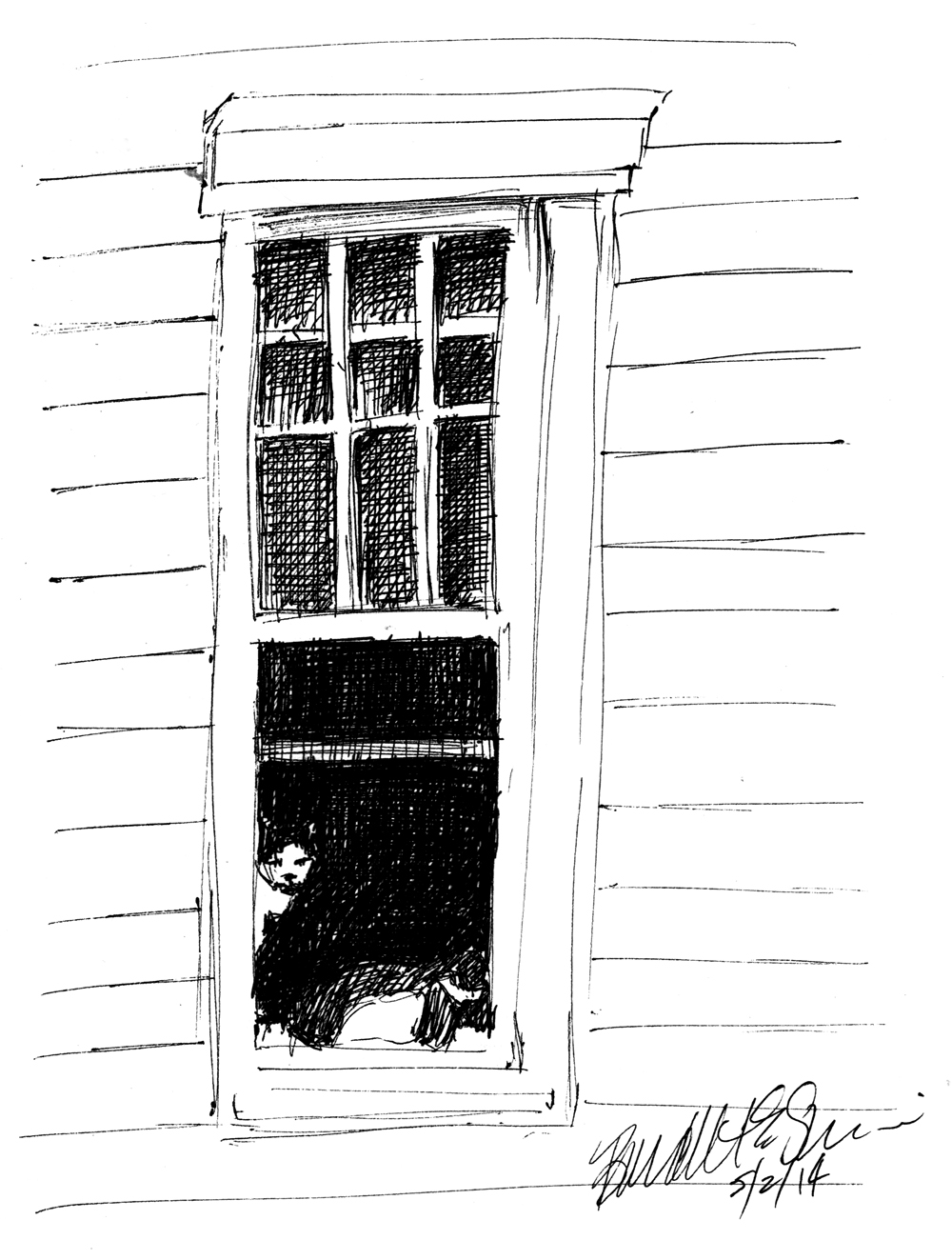 ink sketch of two cats in window.