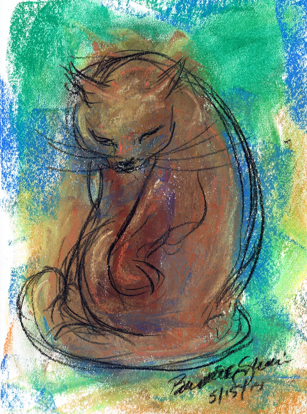 pastel sketch of cat bathing