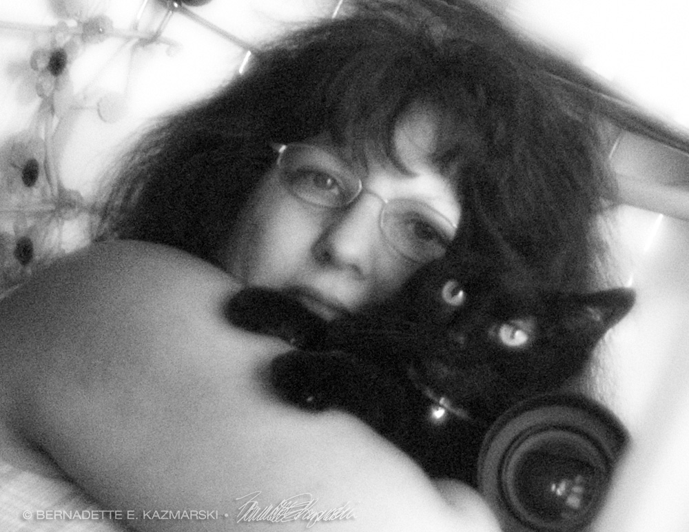 black cat and woman with camera