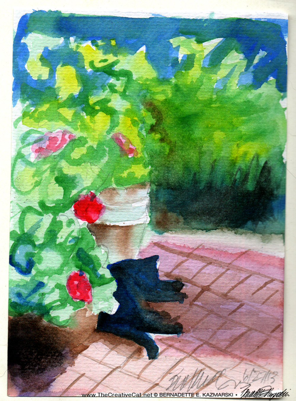 """Garden Sketch With Mimi"", watercolor, 5"" x 7"" © Bernadette E. Kazmarski"