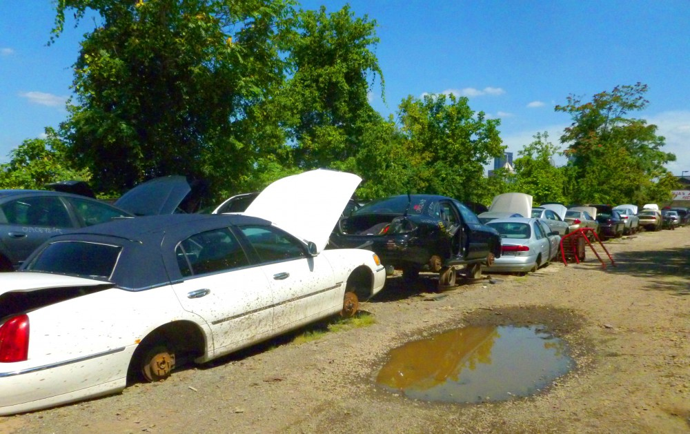 The auto recycling lot.