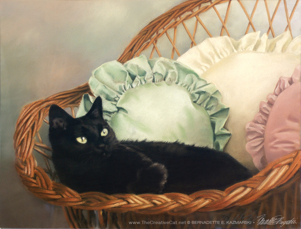 pastel portrait of black cat