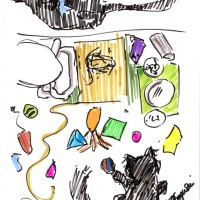 marker sketch of kittens with toys