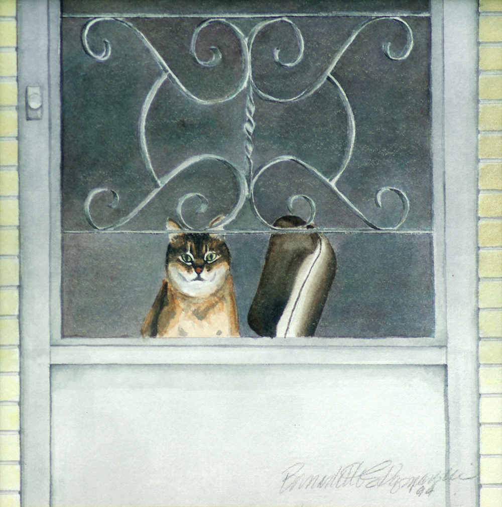 """Sherman at the Door"", watercolor, 8"" x 8"", 1994 © Bernadette E. Kazmarski"