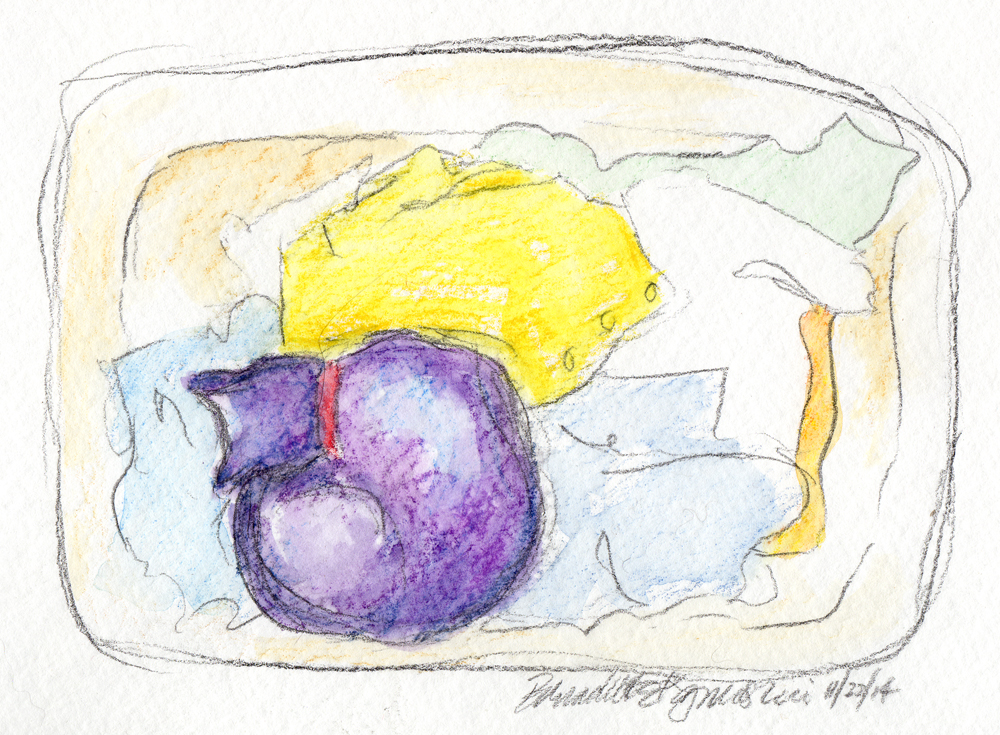 sketch with watercolor of cat in laundry basket