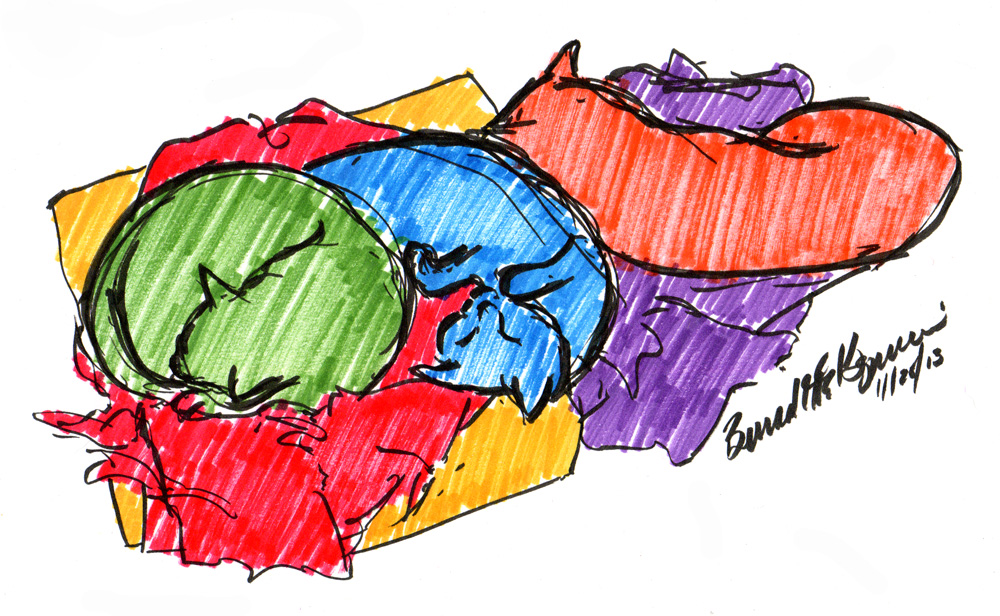 Daily Cat Sketch: Colorful Dreams, 2013