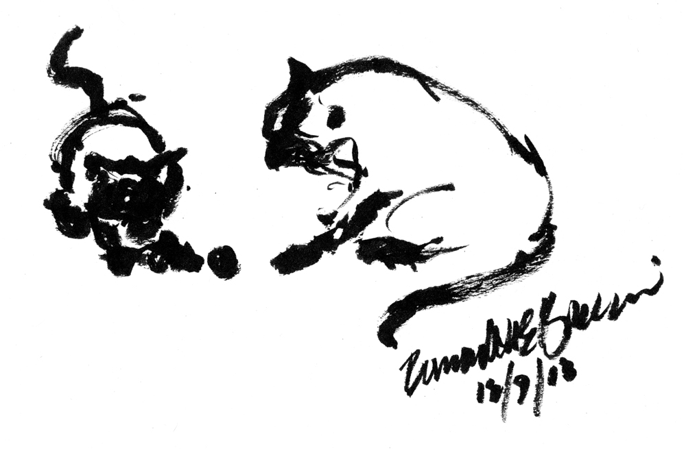 Daily Sketch Two Cats Playing ~ The Creative Cat