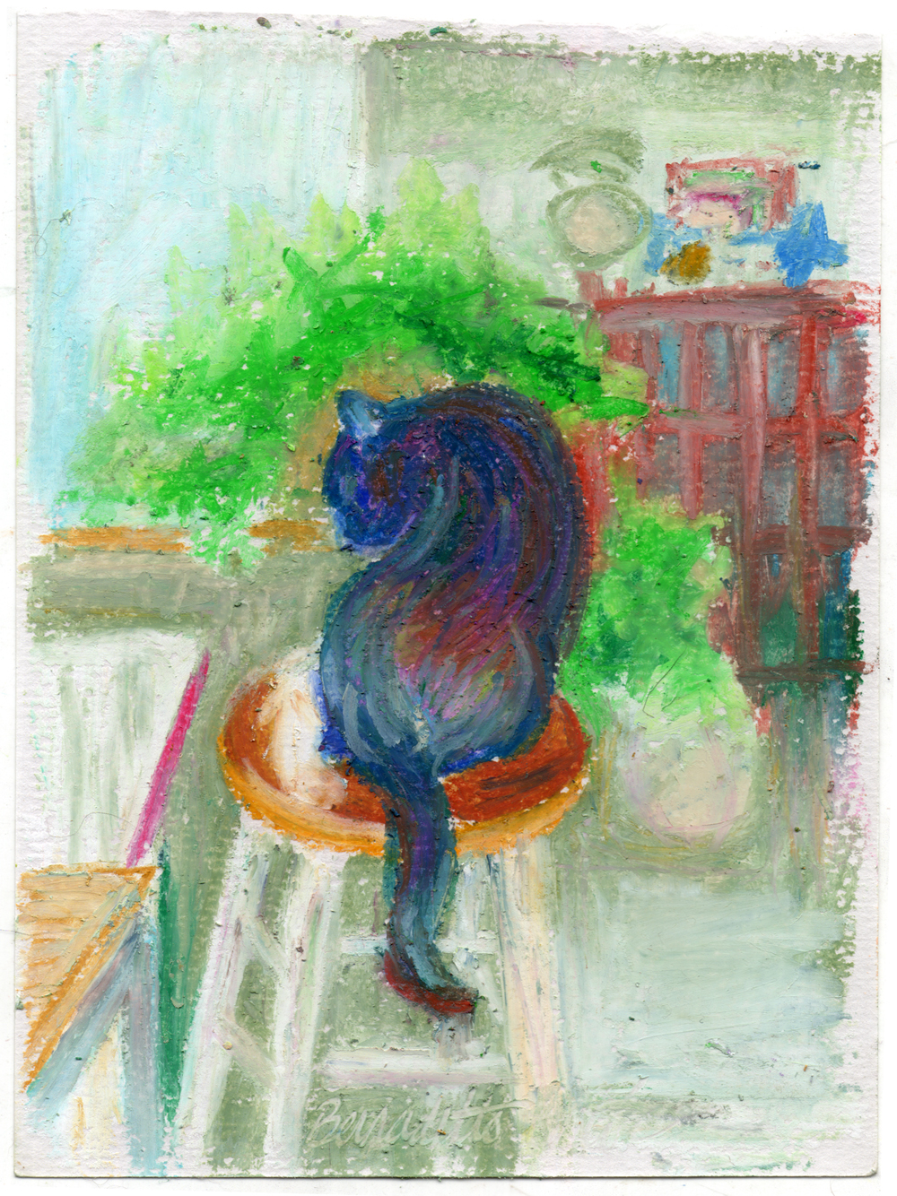 pil pastel sketch of cat bathing
