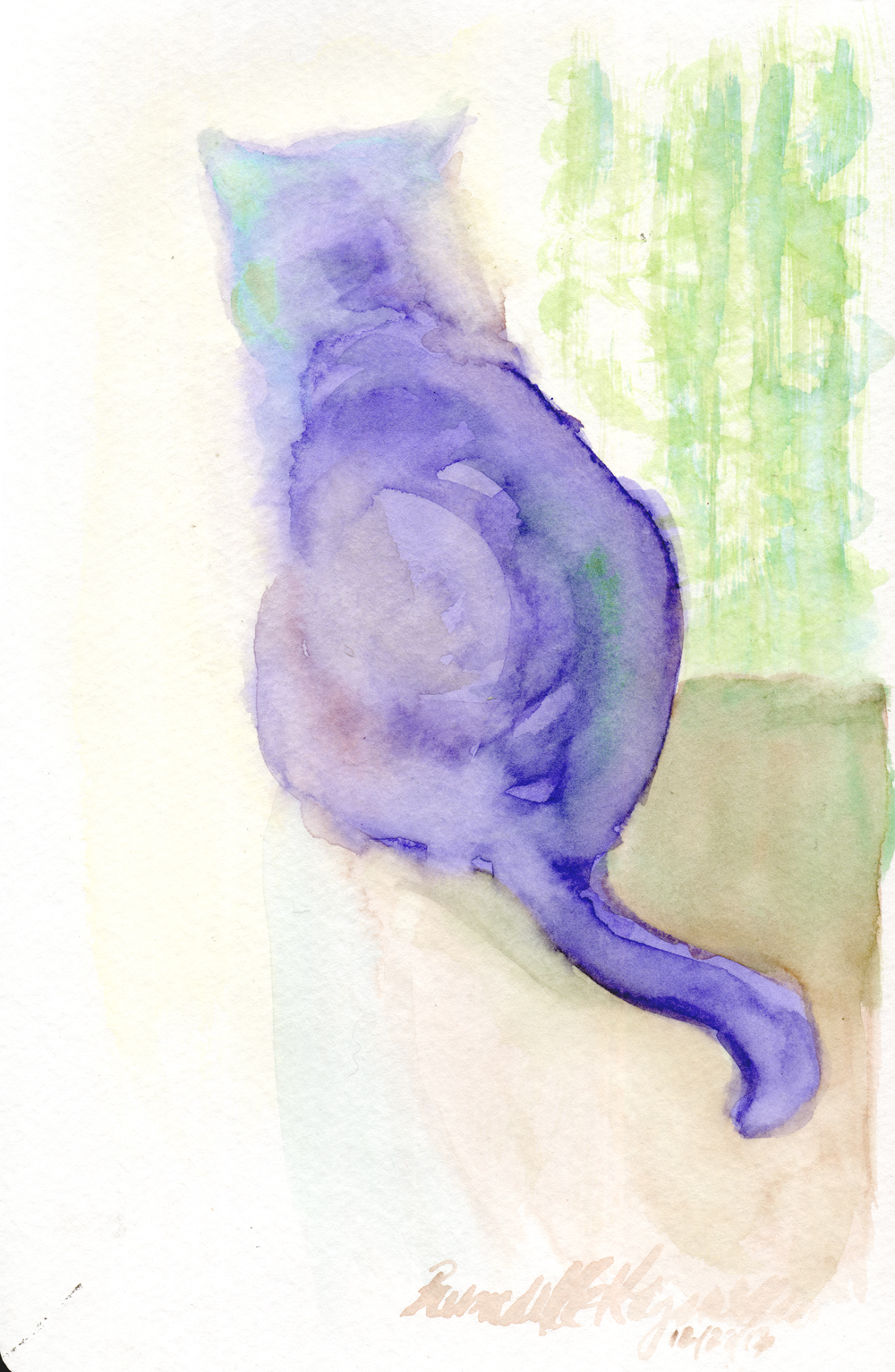 watercolor of cat looking out window