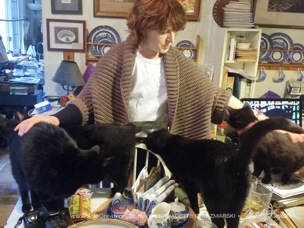woman with black cats