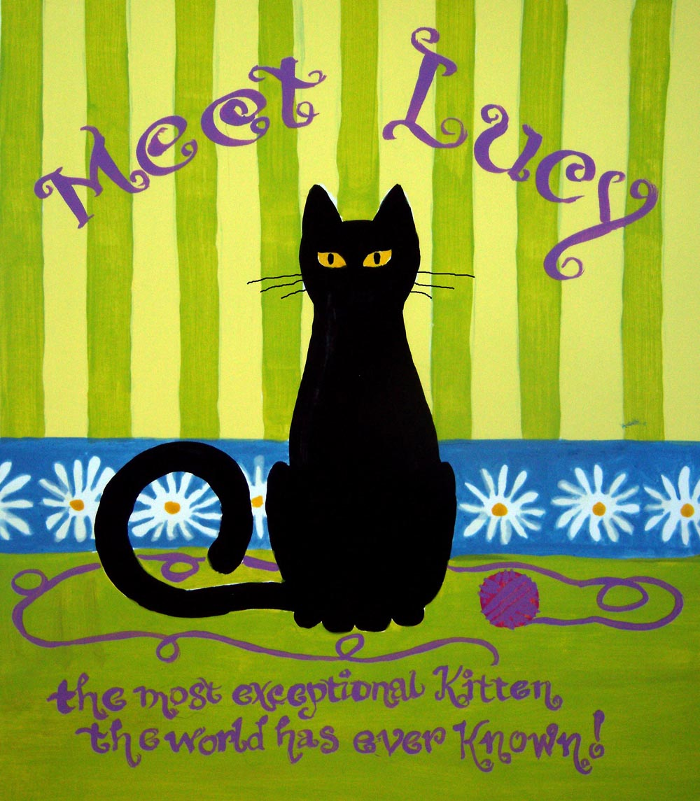 illustration of black cat on colored background