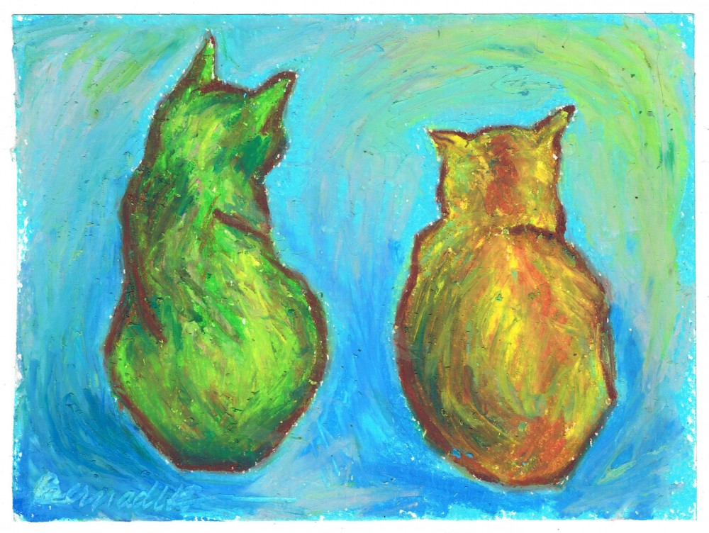 Fourth Anniversary: Two Cats After van Gogh