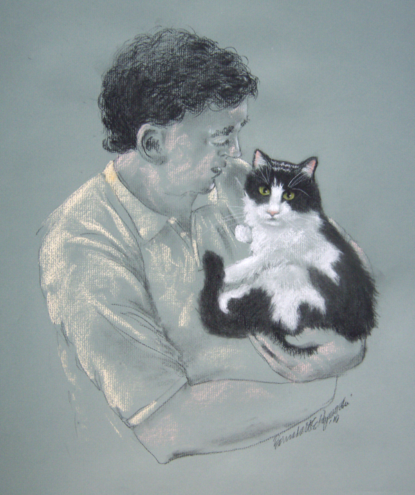 pastel portrait of man and cat