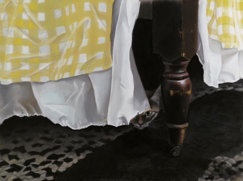 painting of cat under bed