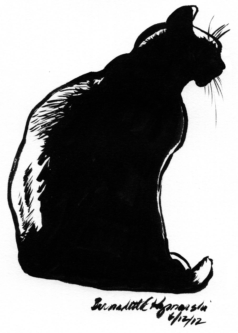ink silhouette sketch of black cat