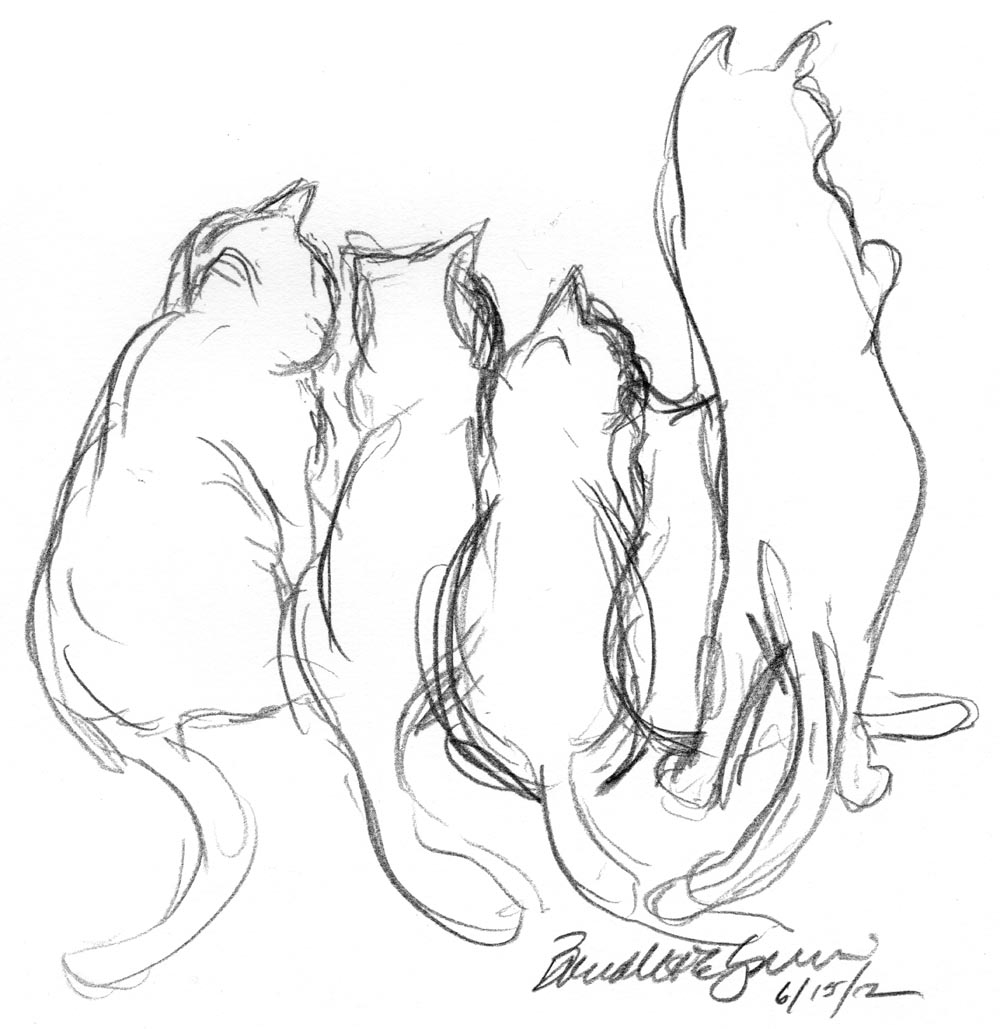 pencil sketch of five cats Archives ~ The Creative Cat