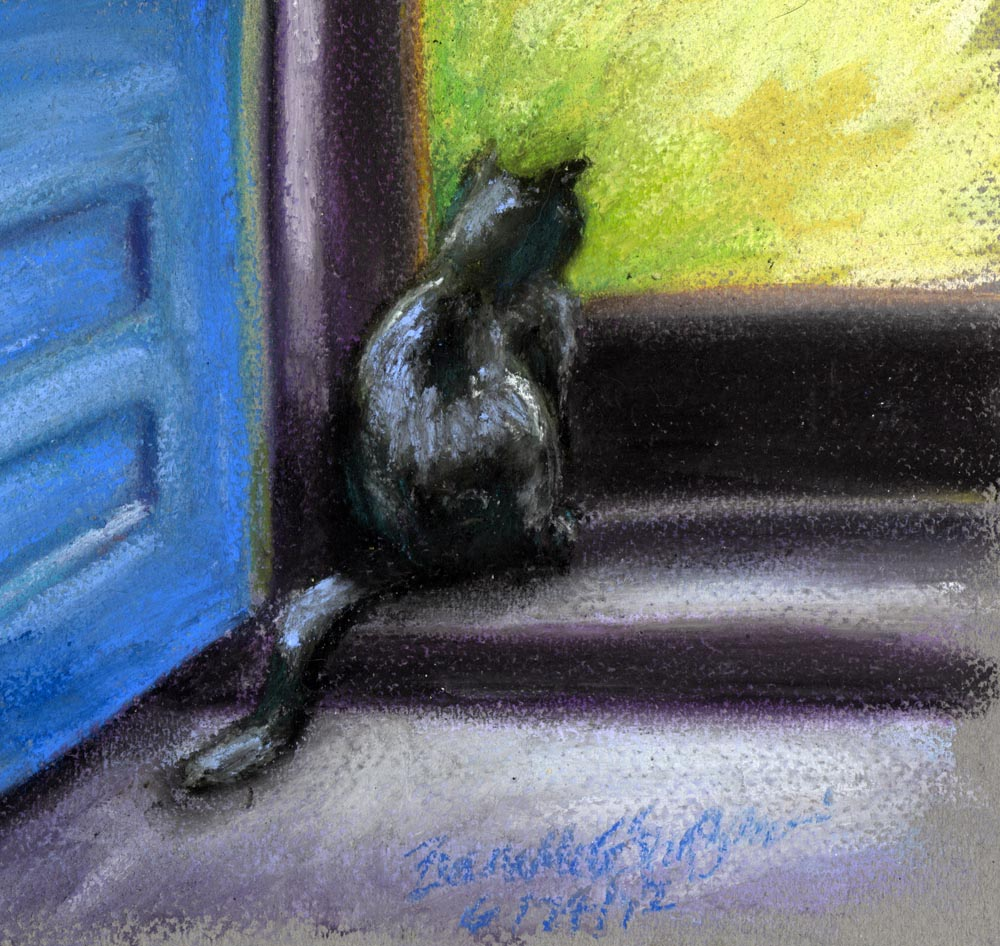 pastel sketch of cat at door