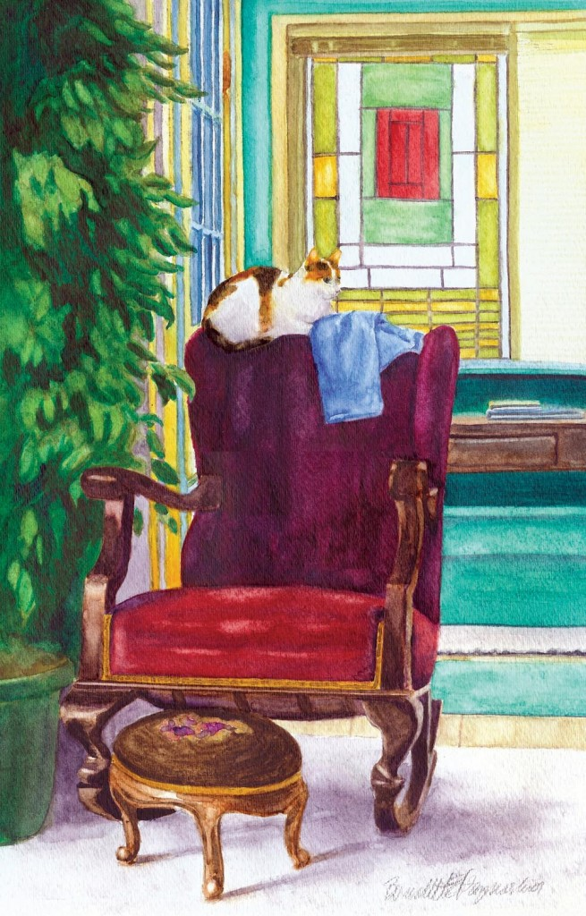 watercolor of calico cat on rocker