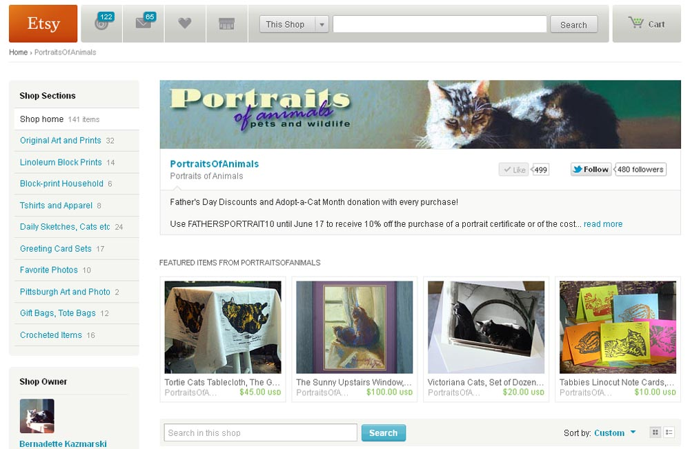 screenshot of portraits of animals on etsy