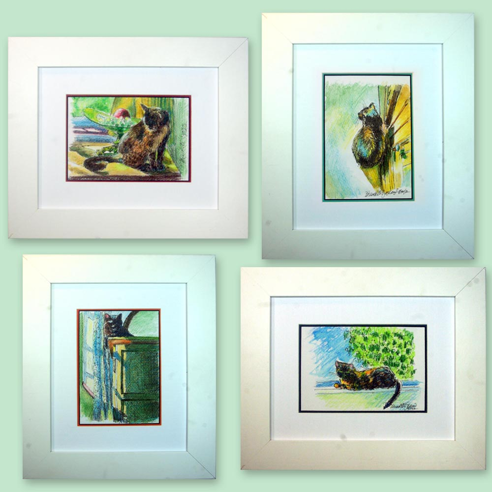 four framed ink and watercolor sketches