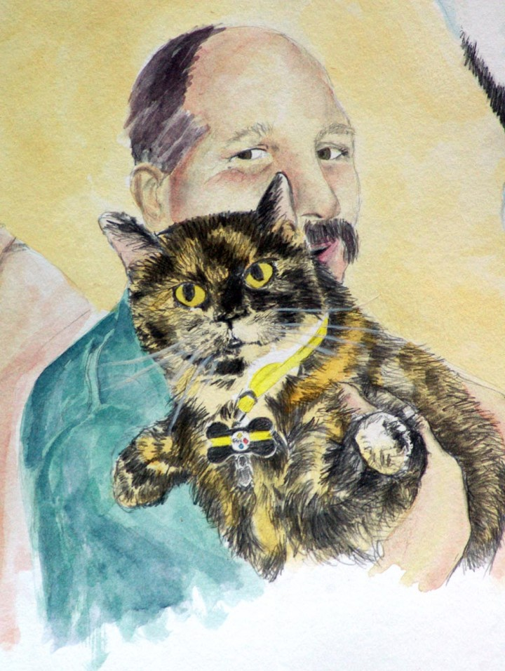 pencil and watercolor of cat and person