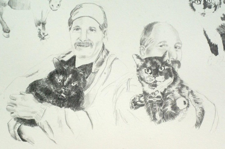 pencil sketch of person and cats