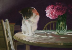 &quot;Peaches and Peonies&quot;, pastel, 23&quot; x 16&quot;, 2008  B.E. Kazmarski