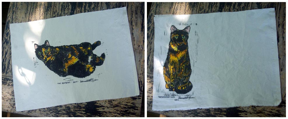 hand-printed placemats with tortoiseshell cats