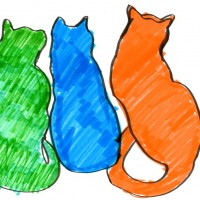 three cat shapes in color
