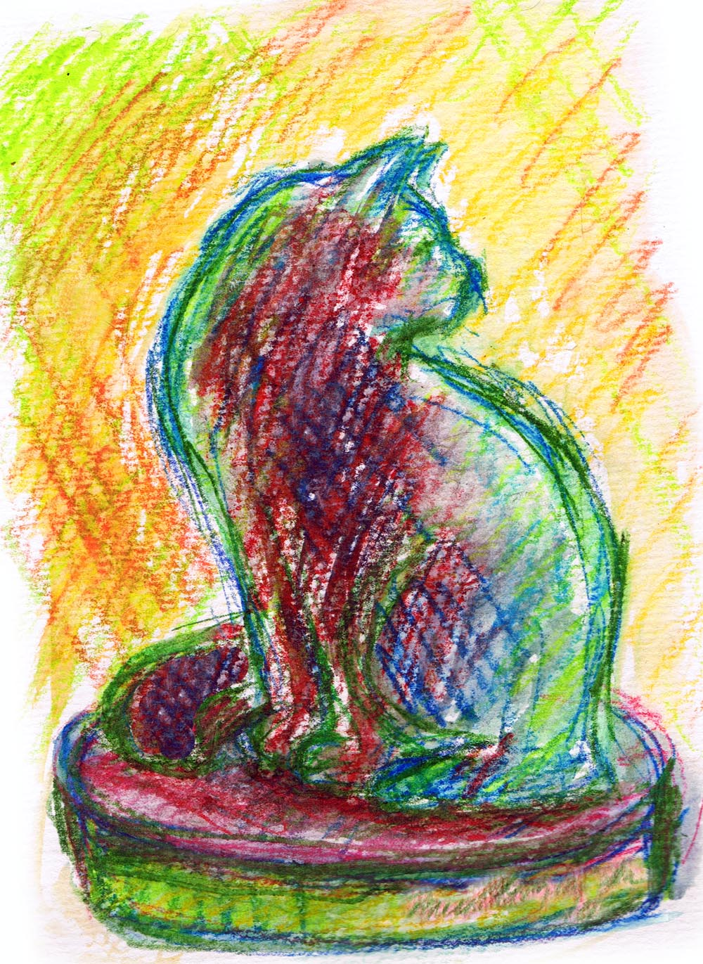 watercolor sketch of cat