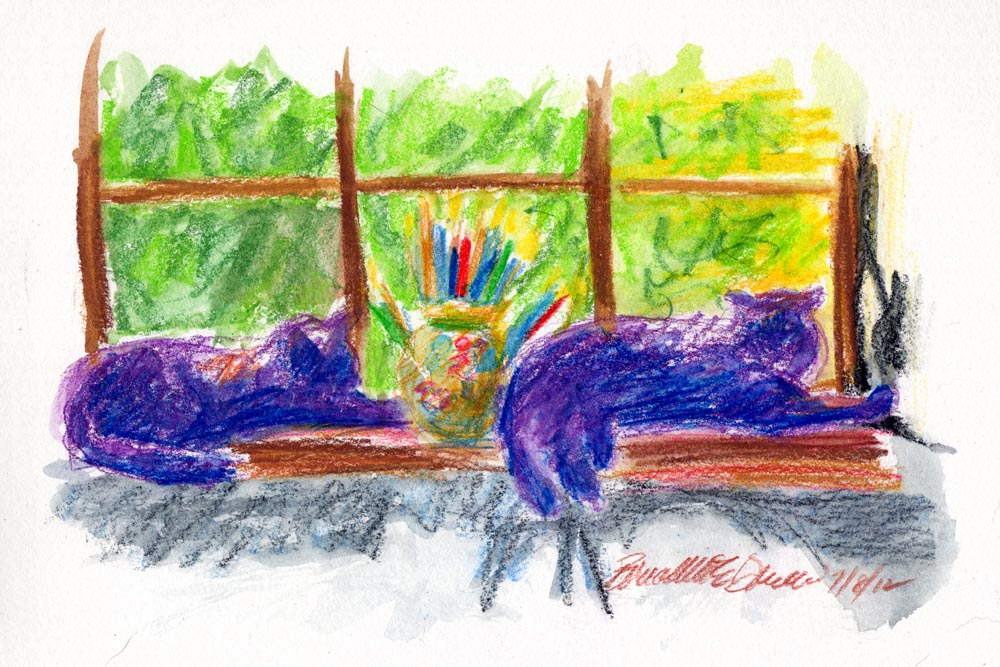 watercolor of two cats on windowsill