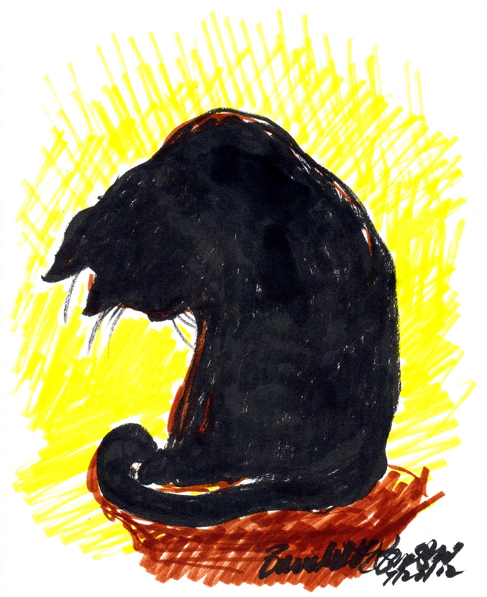 marker sketch of cat looking down at his paws