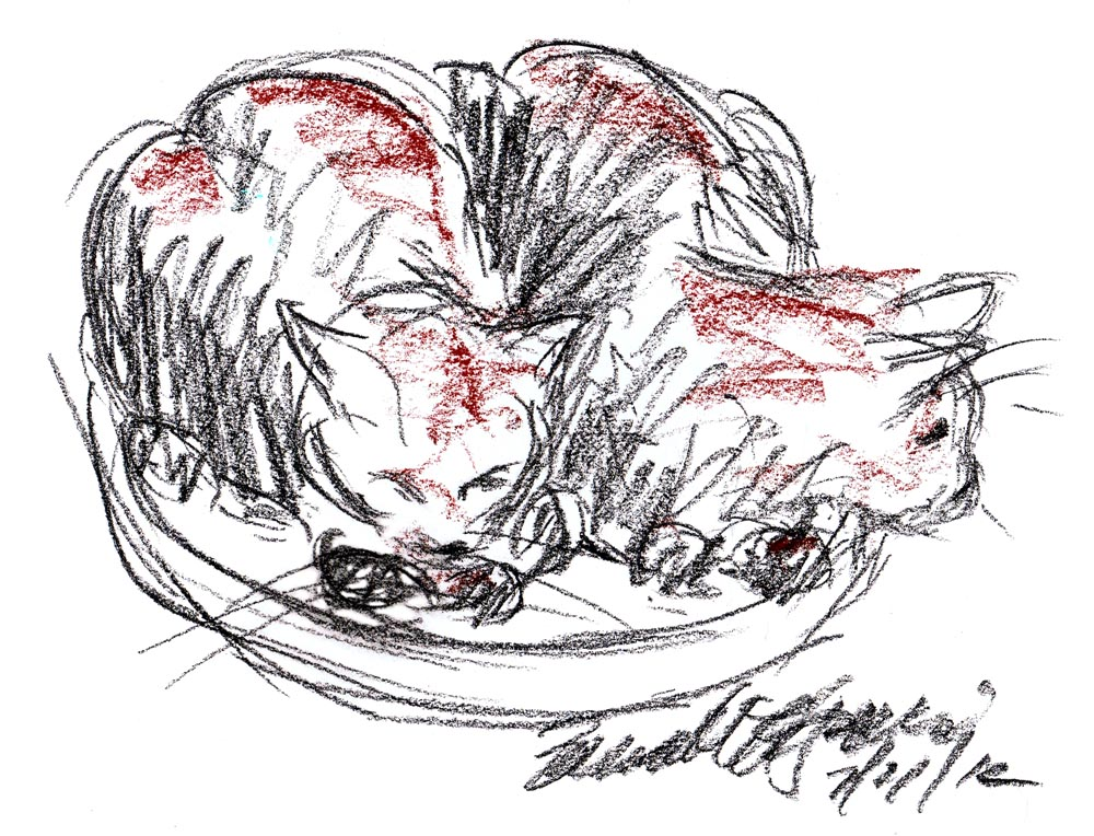 sketch of two cats on stool