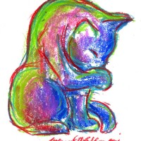 Summer-colored Kitty, 5 x 8, pastel © Bernadette E. Kazmarski