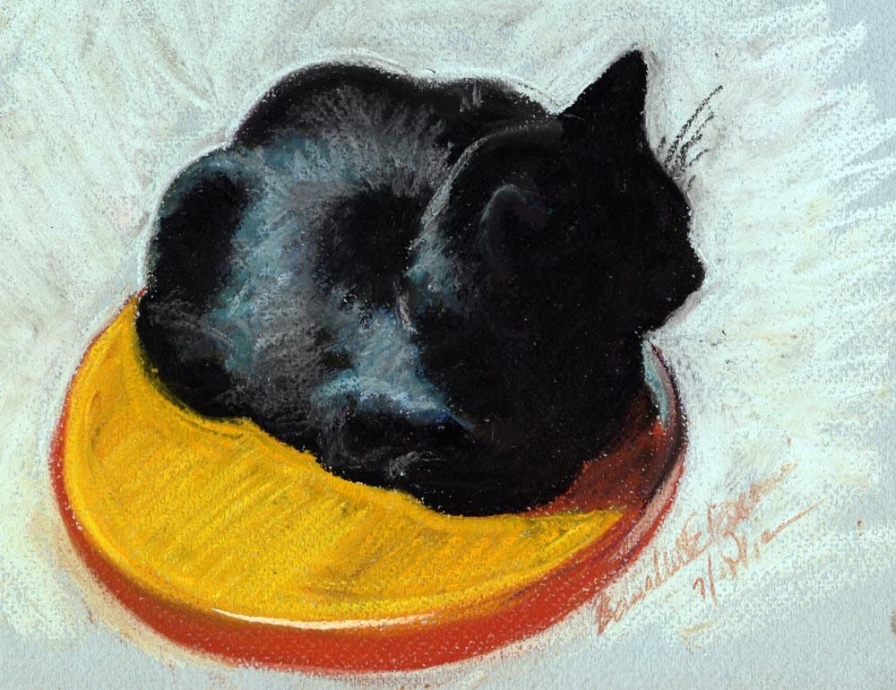 pastel sketch of black cat on stool