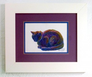 framed oil pastel sketch of cat