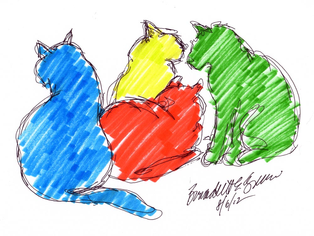 four cat shapes in color