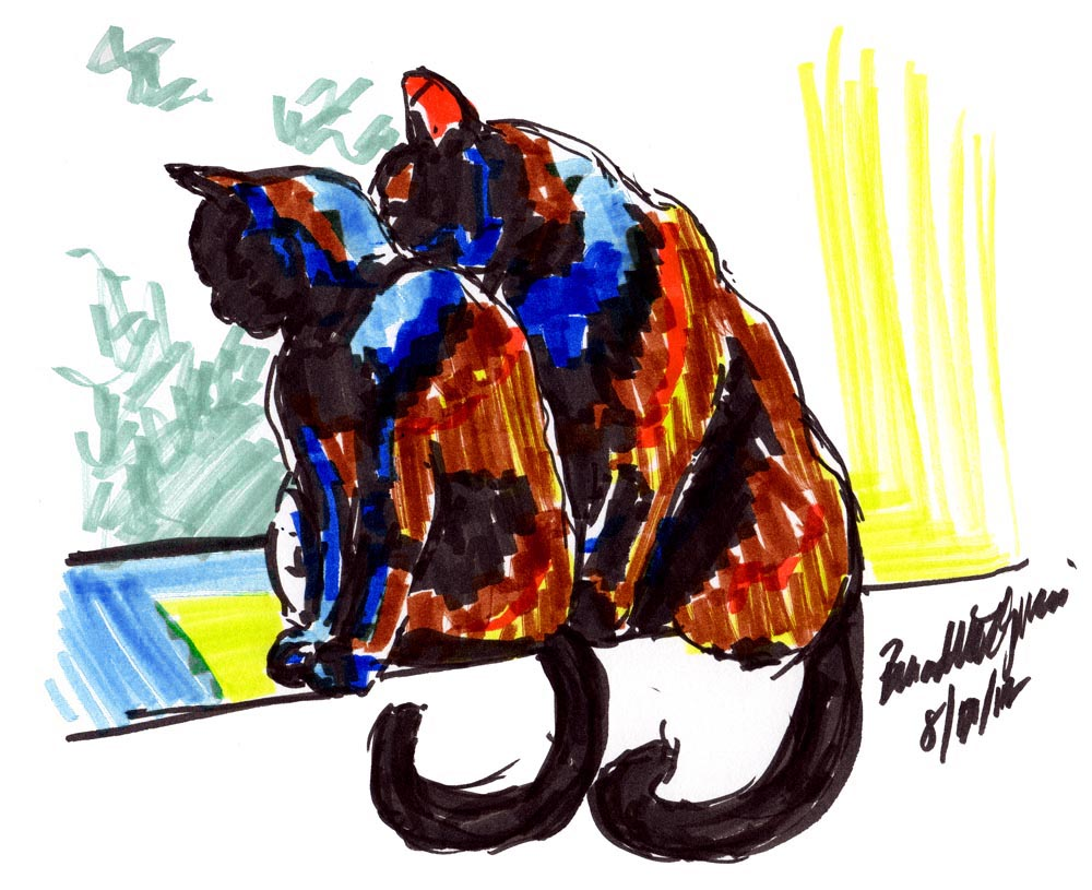 marker sketch of two cats on windowsill