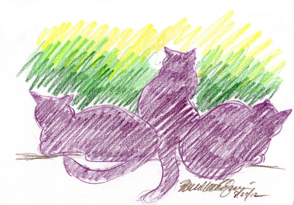 sketch of three cat silhouettes at window in colored pencil